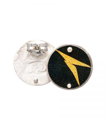 Disc Stud Earrings - Black & Gold