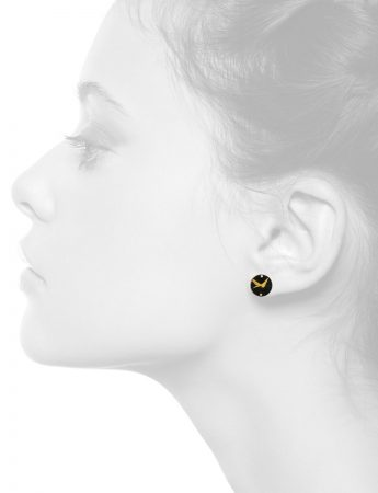 Disc Stud Earrings – Black & Gold