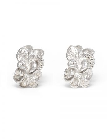 Floral Spray Stud Earrings - Silver