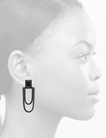 Oval Drop Earrings – Black