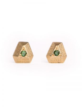 Tourmaline Point Earrings - Yellow Gold