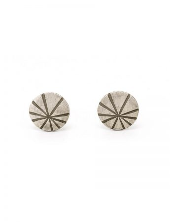 Fan Shell Stud Earrings - Silver