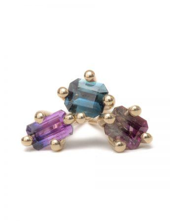Bi-Colour Sapphire Stud - Single Earring