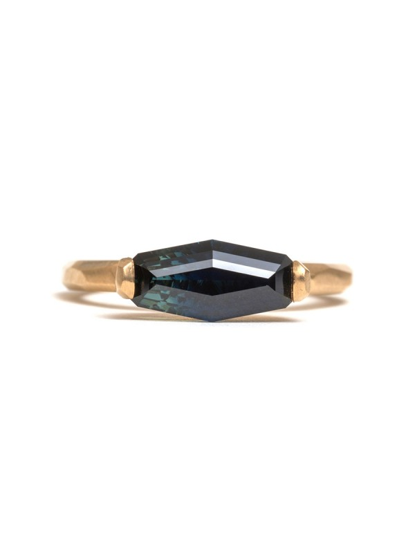 Long Hexagon Parti Sapphire Ring
