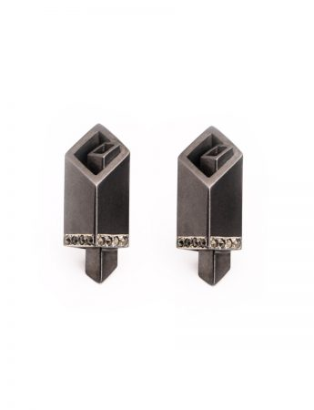 Black City Stud Earrings - Marcasite
