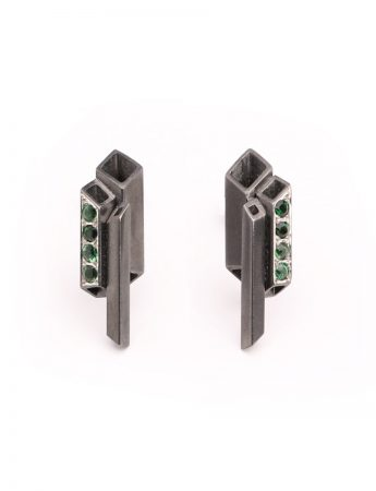 Black City Stud Earrings - Tourmaline