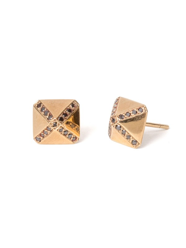 Cross Pyramid Black Diamond Stud Earrings