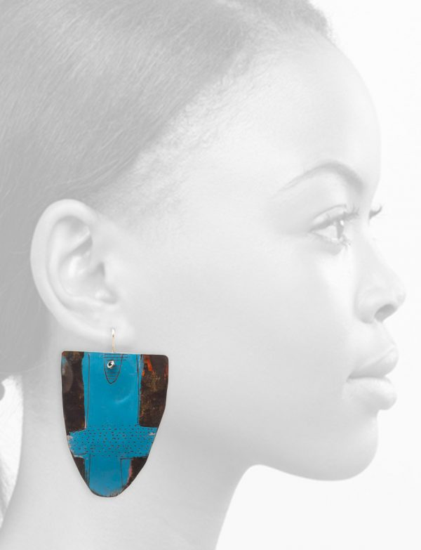 Extra Large Blue Apron Earrings