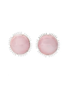 Large Pink Round Earrings - Laura Eyles - Front