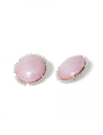 Large Round Enamelled Earrings - Pink