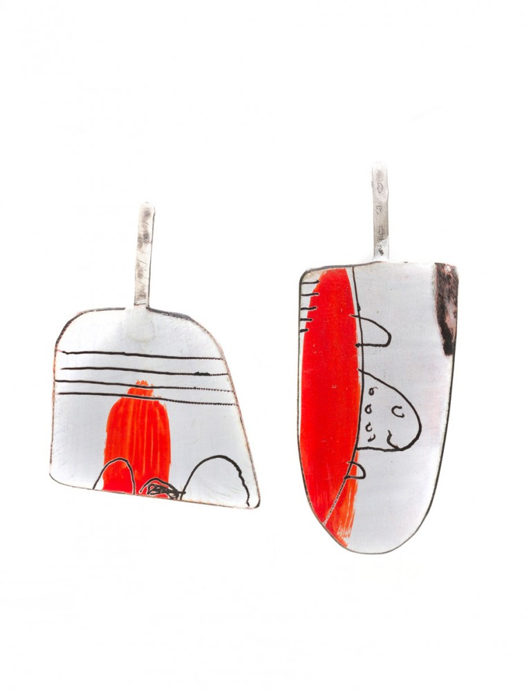 Red & White Apron Earrings