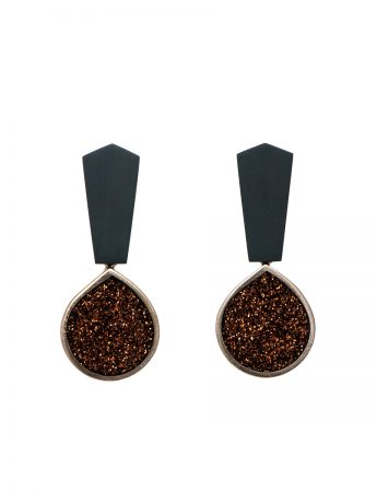 Bronze Glitter Teardrop Earrings