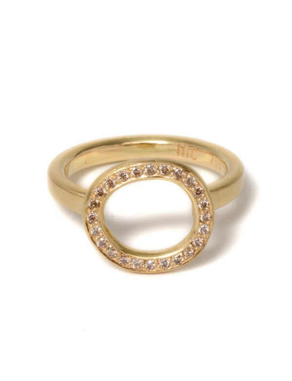 Champagne Halo Ring – Yellow Gold