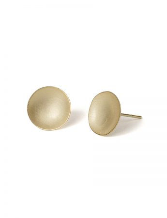 Domed Circle Stud Earrings - Gold