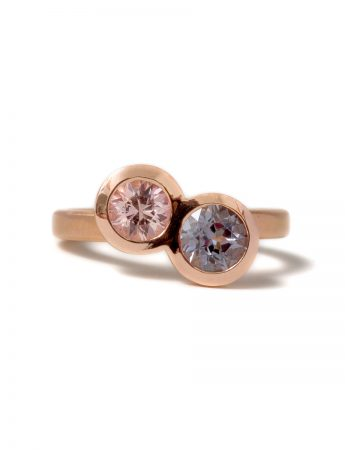 Double Happiness Sapphire & Spinel Ring - Rose Gold