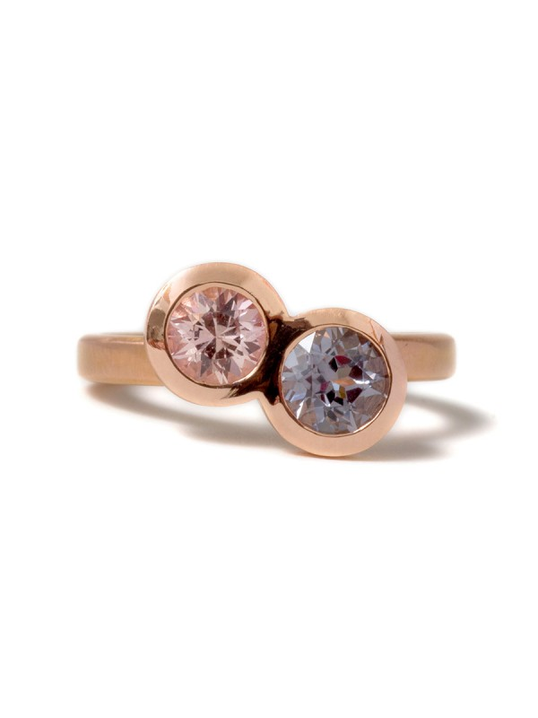 Double Happiness Sapphire & Spinel Ring – Rose Gold
