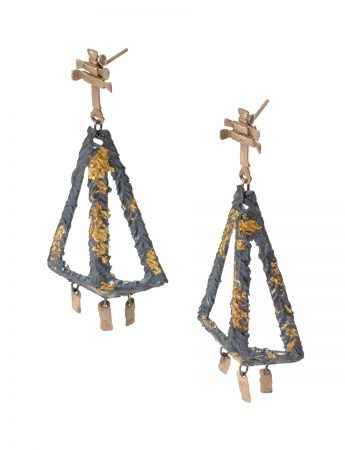 Augurio Earrings - Black & Gold