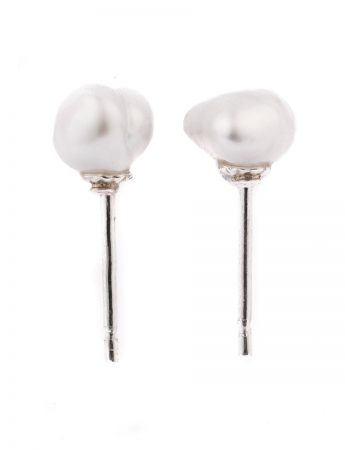 Keshi Pearl Stud Earrings - Silver #2