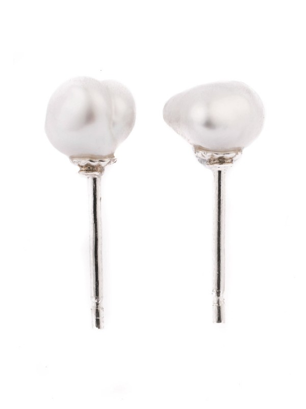 Keshi Pearl Stud Earrings – Silver #2