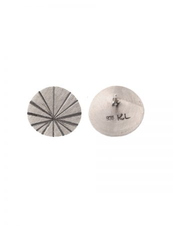 Large Fan Shell Stud Earrings - Silver