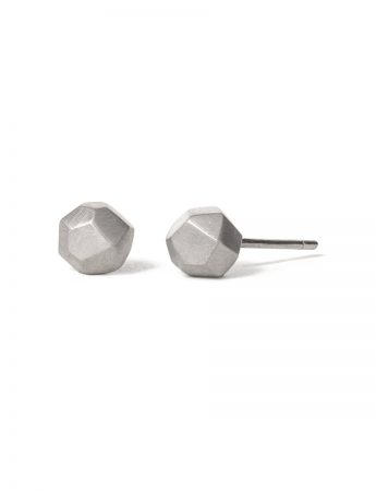 Large Gem Stud Earrings - Matte Silver