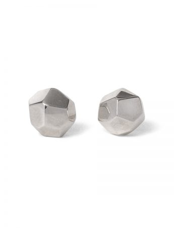Large Gem Stud Earrings - Polished Silver