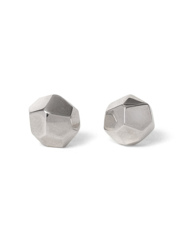 Large Gem Stud Earrings – Polished Silver