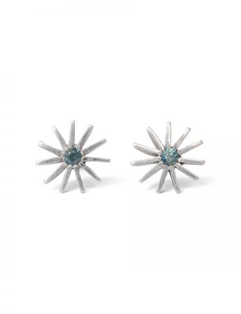 Large Radiant Star Earrings - Teal Sapphire