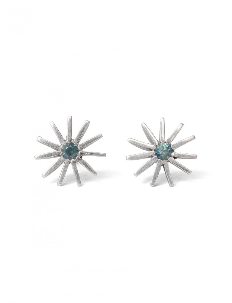 Large Radiant Star Earrings – Teal Sapphire