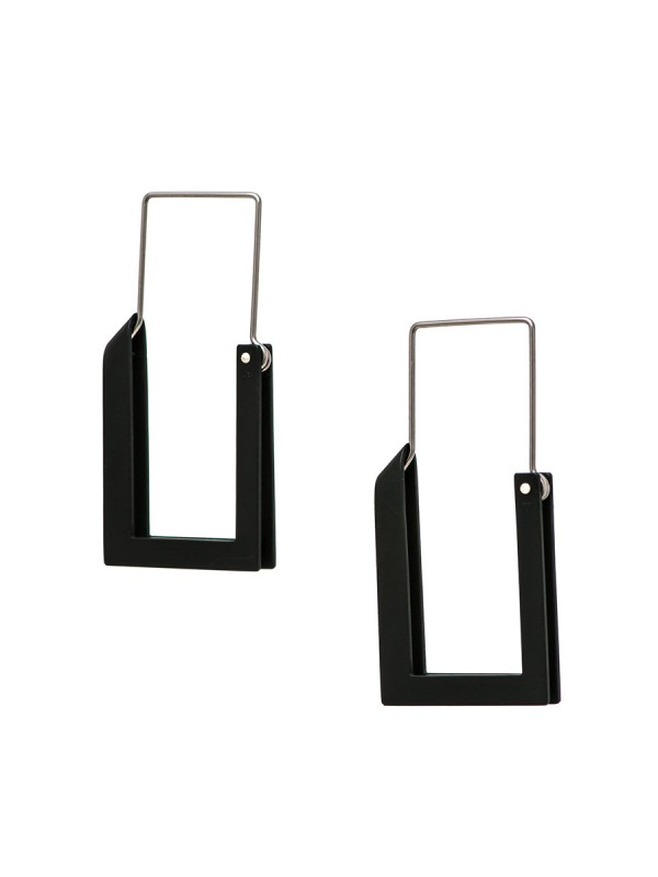 Long Constructivist Earrings – Black