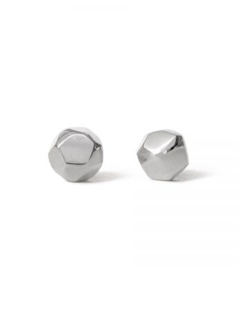 Medium Gem Stud Earrings - Polished Silver