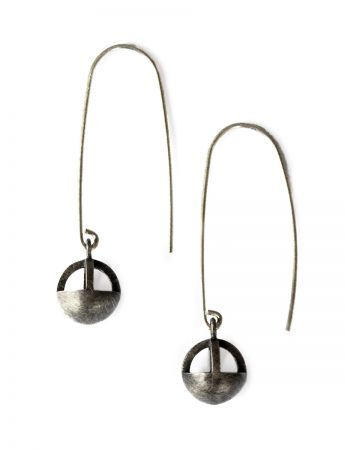 Mirror Earrings - Blackened Silver