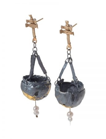 Botafumeiro Earrings - Blackened Silver, Gold & Pearl