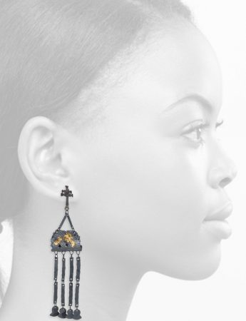 Domitila Earrings – Blackened Silver & Gold Foil