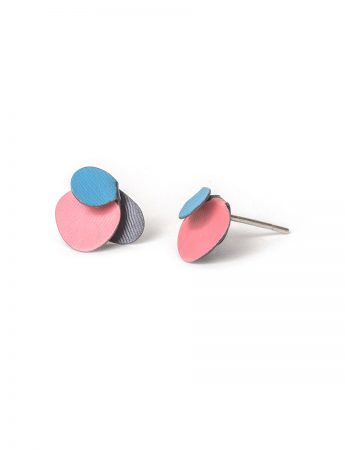 Violet Stud Earrings - Pale Blue and Pink