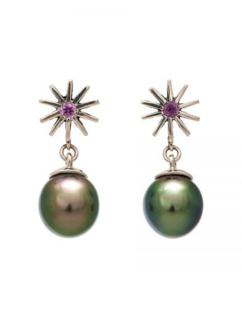 Radiant Star Sapphire Earrings - Tahitian Pearl