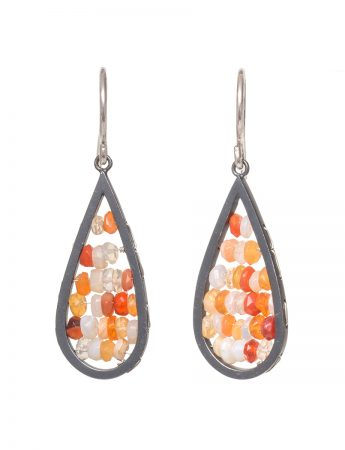 Narrow Teardrop Reef Earrings - Mexican Fire Opal
