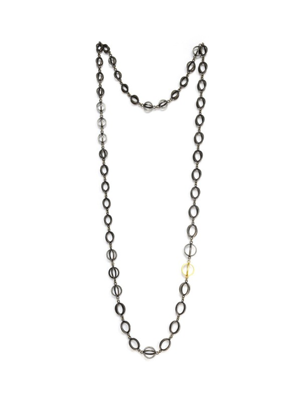 Somewhere in Between Necklace – Black & Gold