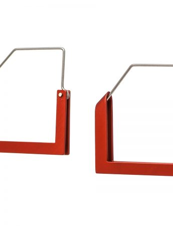 Square Constructivist Earrings - Red