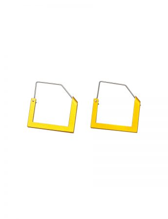 Square Constructivist Earrings - Yellow