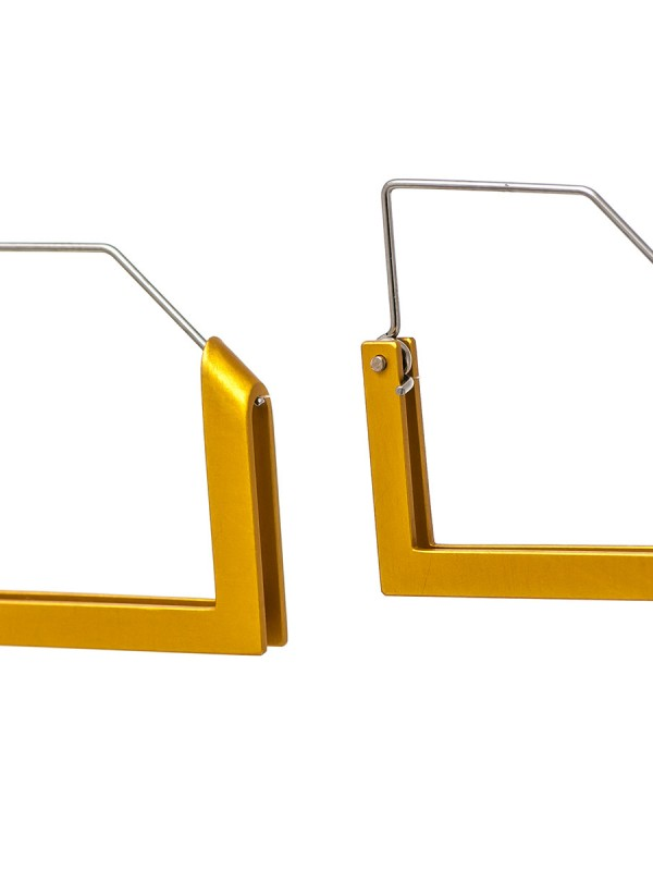 Square Constructivist Earrings – Yellow