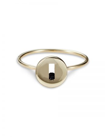 Black Sapphire Rolling Rock Ring - Polished Gold