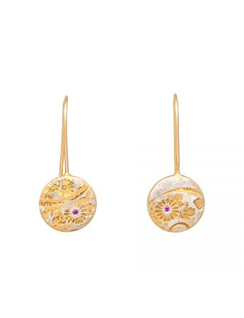 Japanese Flower Hook Earrings - Ruby