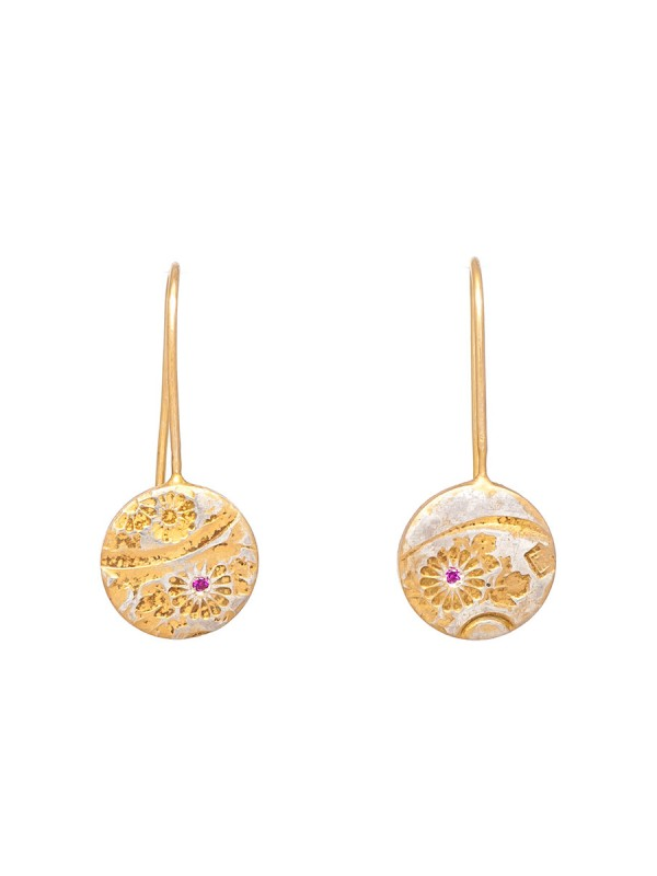 Japanese Flower Hook Earrings – Ruby