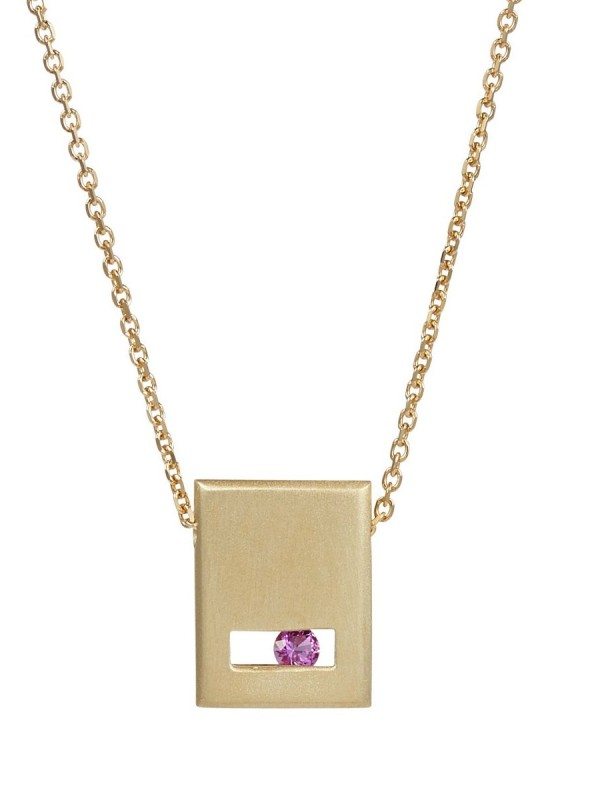 Pink Sapphire Slate Necklace – Matte Gold
