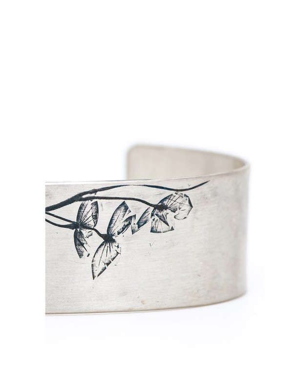 Japanese Plant Cuff – Silver
