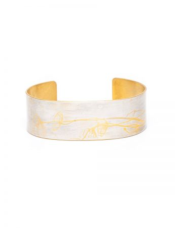 Japanese Plant Cuff - Silver & Yellow Gold Plate