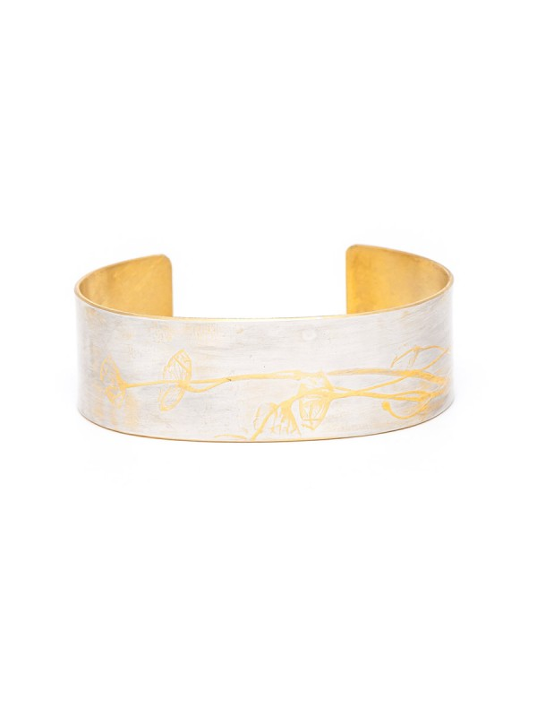 Japanese Plant Cuff – Silver & Yellow Gold Plate