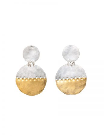 Large Beaten Disc Earrings - Silver & Gold
