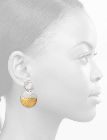Large Beaten Disc Earrings – Silver & Gold